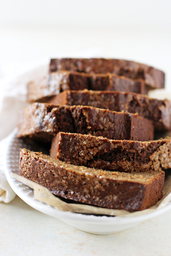 Moist and fluffy healthy maple gingerbread loaf! With whole wheat flour, applesauce and plenty of warm spice! Perfect for snacking or dessert!