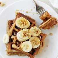 Healthy Banana Walnut Waffles