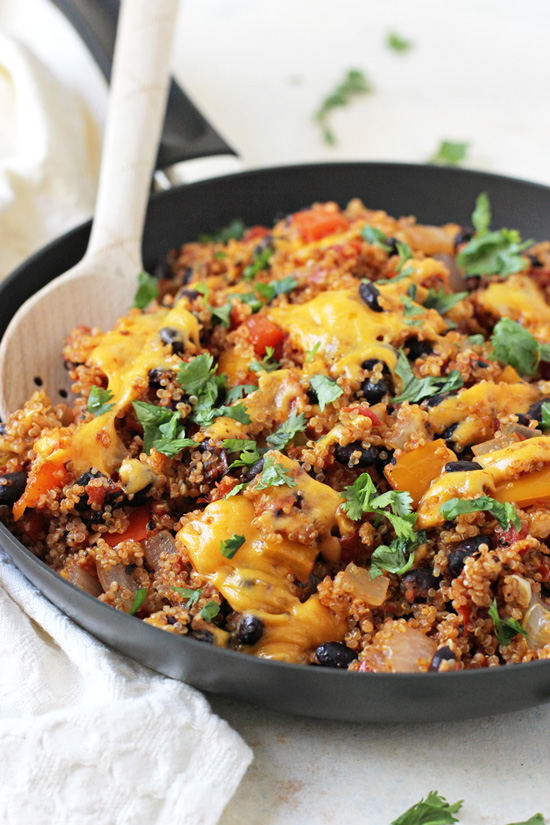 This easy, one-pot stuffed pepper quinoa skillet is packed with flavor! It's healthy, filling and a fun spin on the classic dish!