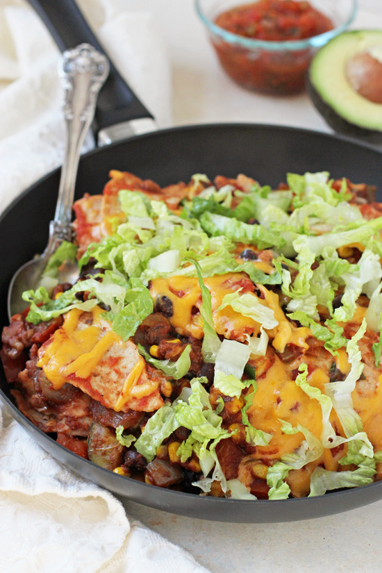 This vegetable & black bean taco skillet is simple, fresh and delicious! Think all the classic flavors of a taco in skillet form!