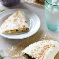 Greek Chickpea Quesadillas with Homemade Tzatziki