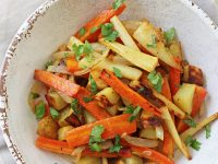 These simple honey mustard roasted vegetables are packed with flavor! Tender and slightly sweet, they are hard to resist!