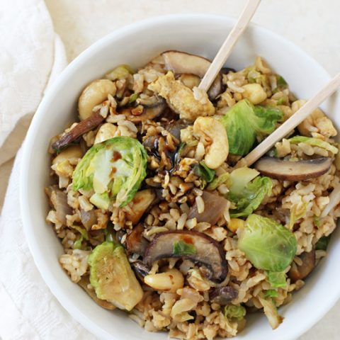 Brussels Sprout Fried Brown Rice