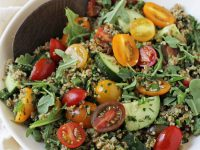Healthy & satisfying, this pesto tabbouleh summer salad is perfect for the season! With flavorful pesto, cherry tomatoes and crisp cucumber!