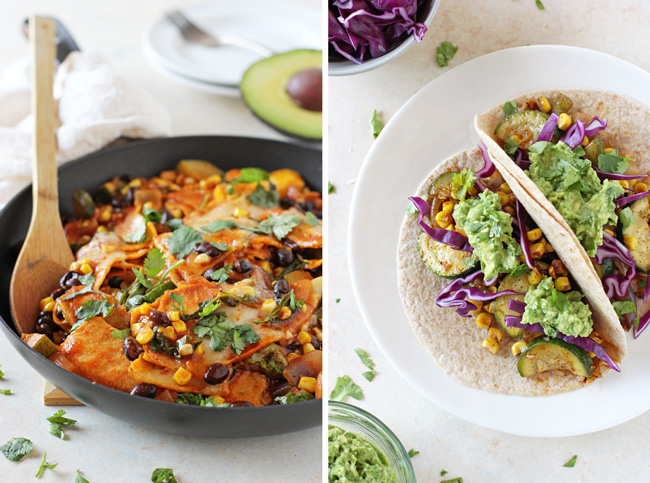Summer Vegetable Skillet Enchiladas & Zucchini and Corn Tacos with Guacamole