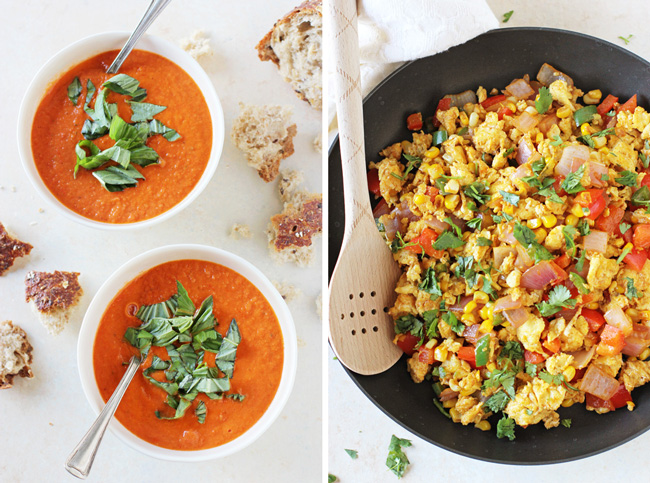 Roasted Cherry Tomato Soup & Southwest Egg Scramble