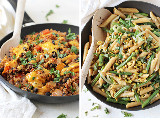 Stuffed Pepper Quinoa Skillet & Lemon Garlic Pasta Skillet with Green Beans