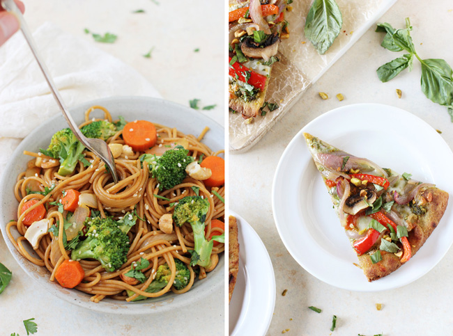 A photo of Spicy Broccoli Carrot Noodle Stir-Fry & Veggie and Pesto Flatbread Pizza