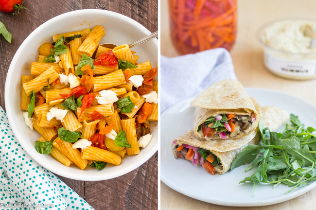 30-Minute Caprese Pasta Skillet & Grilled Portabella Hummus Veggie Wraps