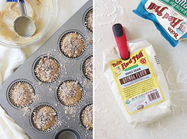 Bob's Red Mill Organic Quinoa Flour and Organic All-Purpose Flour form the base of these banana bread quinoa muffins.