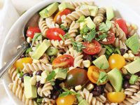 Fresh and fun vegetable taco pasta salad! Packed with veggies, herbs, whole wheat pasta and a creamy, dreamy dressing!