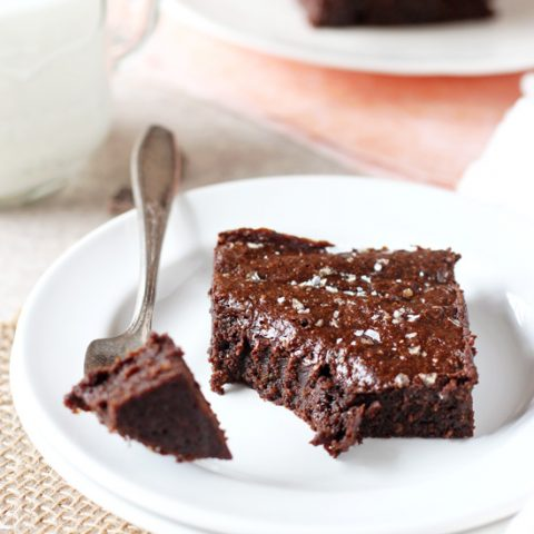 Sweet and salty dark chocolate avocado brownies! One bowl, perfectly fudgy and ready to bake in 15 minutes or less!