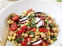 Just 15 minutes to this easy, healthy and fresh garden veggie balsamic chickpea salad! With fresh veggies, herbs and a honey balsamic dressing!