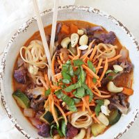 Rainbow Vegetable Curry Noodle Bowls
