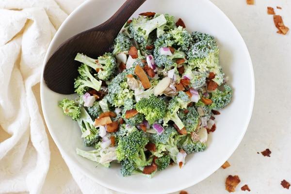 Vegetarian Broccoli Salad with Coconut Bacon