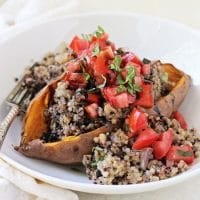 Bruschetta Stuffed Sweet Potatoes