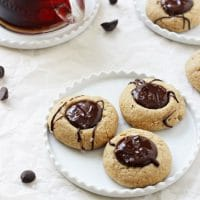 Salted Chocolate Peanut Butter Thumbprint Cookies