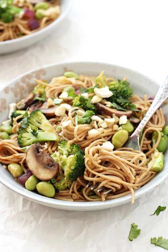 This spicy soba noodle vegetable stir-fry is much healthier than take-out! Simple, quick and packed with flavor! With broccoli, mushrooms and edamame!
