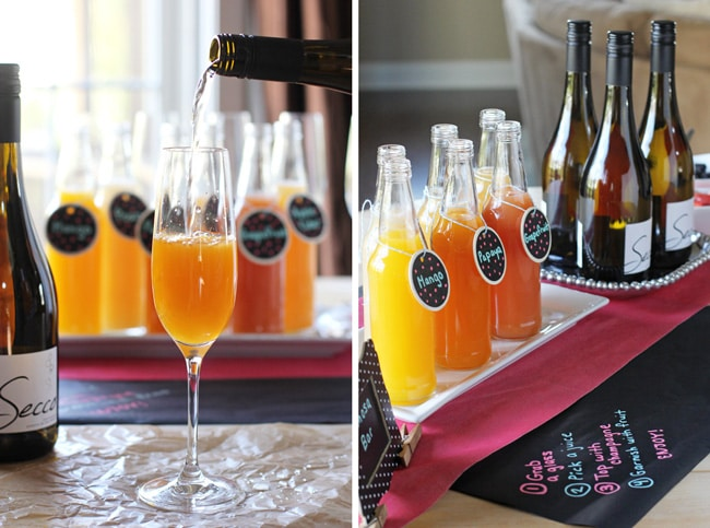 Two angles of a DIY mimosa bar set up on a table.