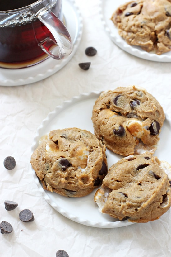 Just 20 minutes and one bowl to these easy flourless peanut butter s'mores cookies! Sweetened with maple syrup and studded with dark chocolate & marshmallows! Gluten and dairy free!