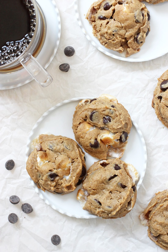 These easy flourless peanut butter s'mores cookies are perfect for summer! Just one bowl and 20 minutes! Gluten and dairy free!