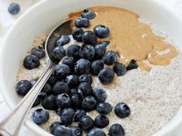 Super easy and healthy blueberry almond butter chia pudding! With dreamy vanilla and almond butter blended right into the base, this pudding can't be beat! Vegan & gluten free!