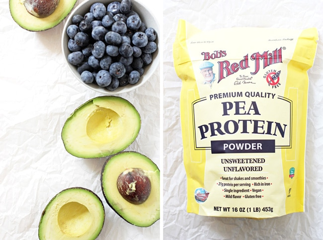 Bob's Red Mill Pea Protein Powder, frozen blueberries and avocado form the base of this delicious and healthy smoothie! Vegan and gluten free!