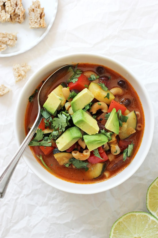 Mexican minestrone soup! Perfect for the end of summer! Easy to make, healthy and packed with flavor from zucchini, bell pepper, whole wheat pasta and warm spices! Vegan and easily made gluten free!