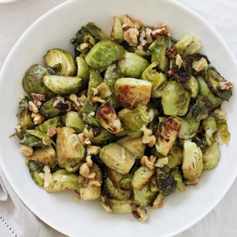 Maple Mustard Roasted Brussels Sprouts