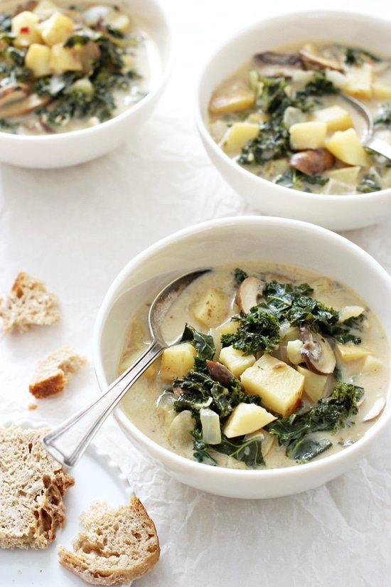 Cozy, one-pot vegan zuppa toscana! This lighter take on the famous Olive Garden recipe is healthy, easy to make and absolutely delicious! Made with coconut milk, kale and yukon potatoes! Dairy free!
