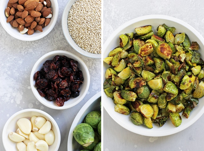 White bowls filled with almonds, quinoa, dried cranberries, garlic and brussels sprouts.