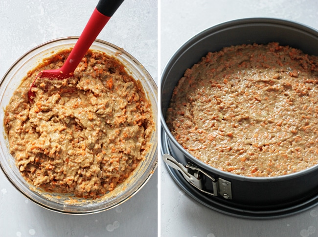 Carrot cake batter in a large bowl with a red spatula and then spread in a springform pan.