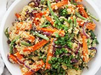 This easy vegan couscous salad is filled with roasted veggies, crunchy walnuts, raisins and a simple maple orange dressing! A perfect light & healthy meal or side! Excellent for make-ahead lunches or dinners!
