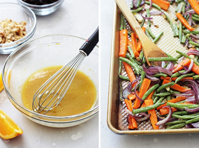 A glass bowl filled with maple orange dressing and a whisk, and a tray of roasted veggies with a wooden spoon.