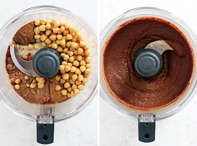 A food processor with all the ingredients for Brownie Hummus and then again with it all blended.