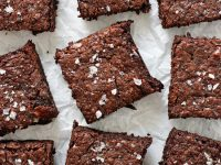 These simple, homemade dairy free brownies are fudgy, chewy and completely irresistible! Packed with almond flour, tahini and three kinds of chocolate, they are excellent for any occasion! Dairy and gluten free!