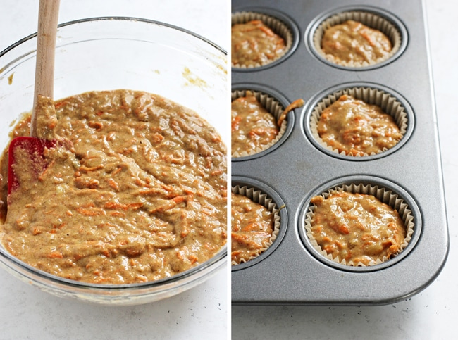 A glass mixing bowl filled with Banana and Carrot Muffin batter, and then scooped into muffin tins.