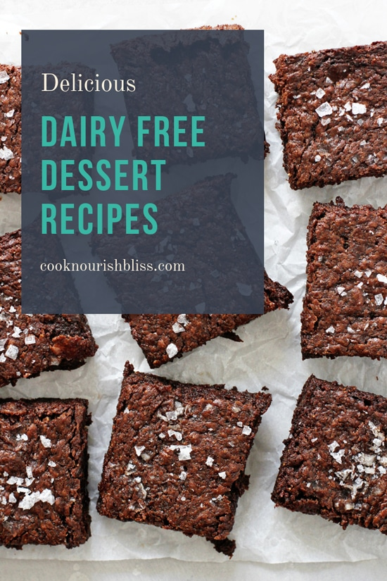 Dairy Free Brownies on parchment paper with a graphic text overlay.