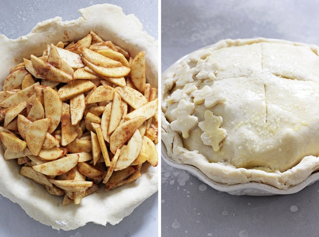 A pie crust filled with apples and then an entire unbaked Lactose Free Apple Pie.