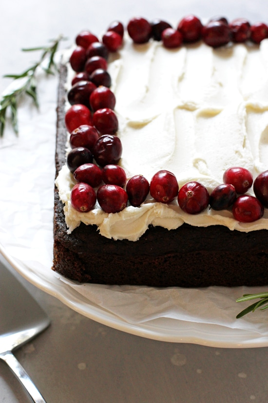 An Egg Free Gingerbread Cake on a cake stand.