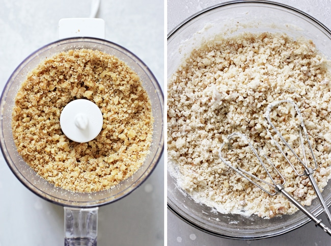 Ground walnuts in a food processor and then cookie dough in a glass mixing bowl.