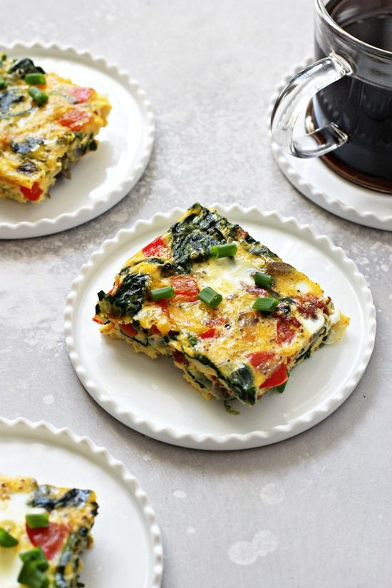 Three slices of Dairy Free Frittata on small white plates.