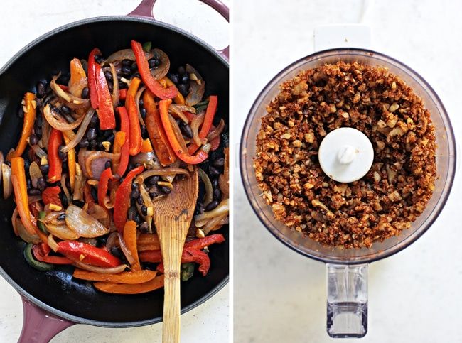 A skillet with sauteed veggies and then a food processor with crumbled walnuts.