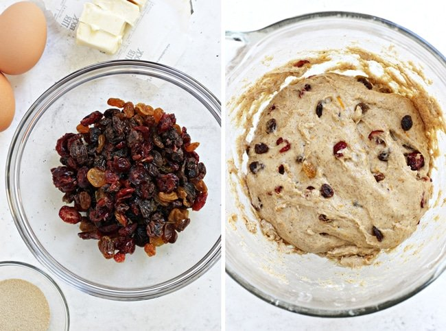 Dried fruit in a bowl, and then bread dough rising in a mixing bowl.