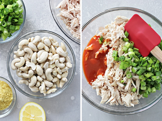 Cashews, shredded chicken and green onions in glass bowls.