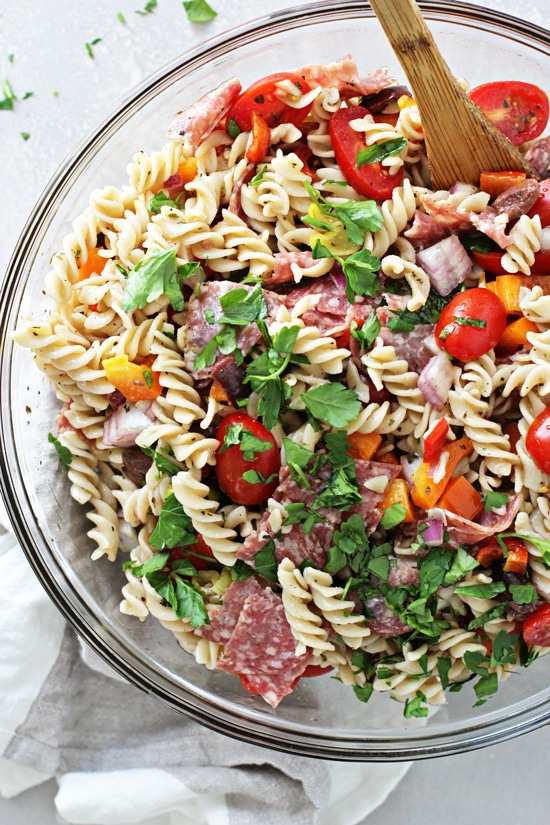 Dairy Free Pasta Salad in a glass mixing bowl.