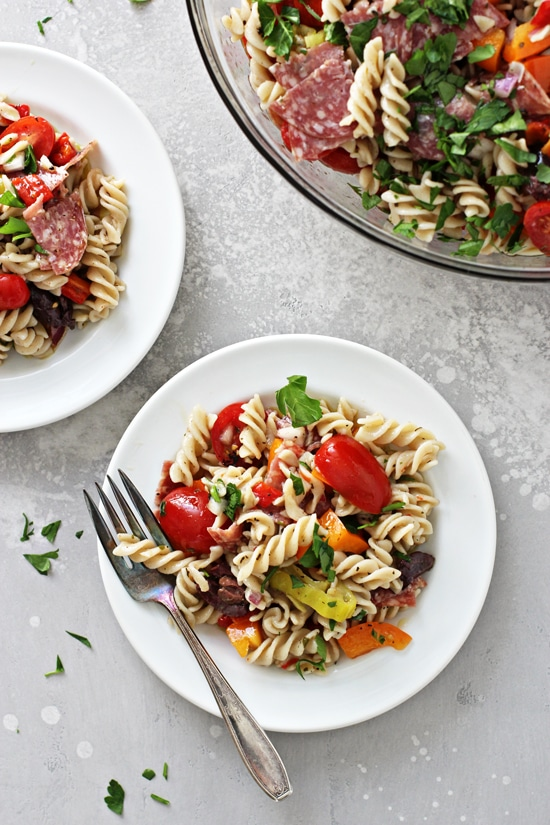 Two white plates filled with Non Dairy Pasta Salad.
