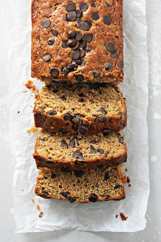 A sliced up loaf of Dairy Free Zucchini Bread.