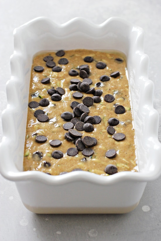 Quick bread batter in a baking dish.