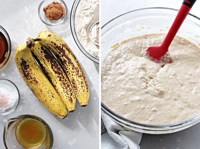 Ingredients in bowls and then pancake batter in a mixing bowl.